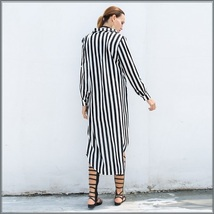 Black and White Striped Long Sleeve Button Up Maxi Beach Shirt With Belt image 3