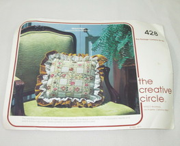 1977 Creative Circle Ribbon Pillow Needlepoint Kit Vintage Style 428 Can... - $19.79