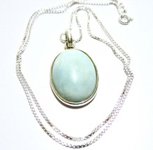 Vintage Larimar Pendant Necklace, Light Teal Stone, Pale Blue, Sterling ... - $32.00