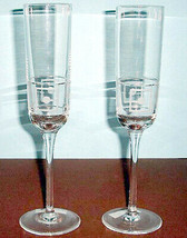 Lenox Westerly Crystal Champagne Flutes SET/2 Etched Square & Dot Motif New - $49.90