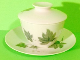 Vintage Noritake Fine China Green Leaves Covered Sugar Bowl And Saucer Gift - $7.70