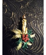 Vintage CHRISTMAS CANDLE BROOCH Pin Holly signed roma  Gold Tone stone  - $12.29