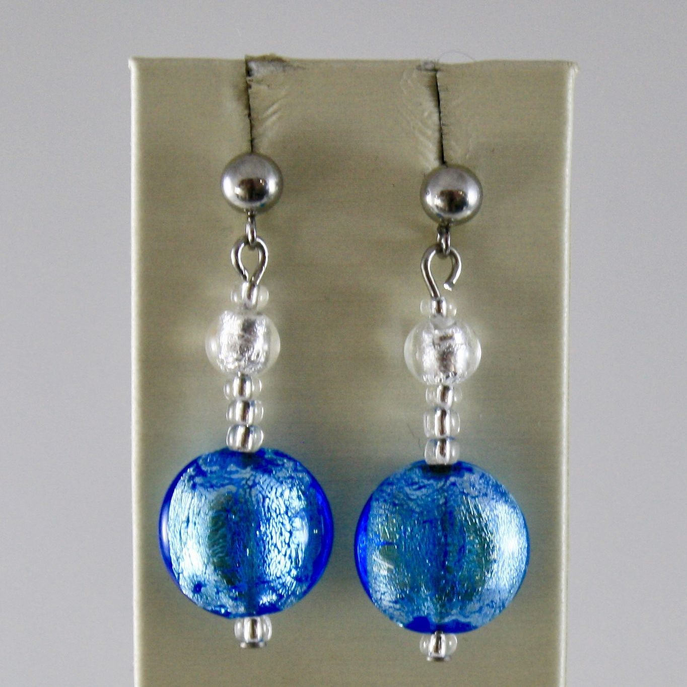 ANTICA MURRINA VENEZIA 15 MM DISCS PENDANT 4 CM FRIDA EARRINGS DISC BLUE & WHITE