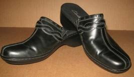 CLARKS Womans Clogs Black Leather 9M Slip On Slides Mules NEW Brazil - $16.82