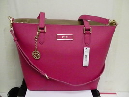 DKNY Donna Karan Saffiano Leather Tote Shoulder Bag Magenta for shopping - $158.35