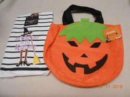 New lot 2 cute Halloween items kitchen hand towel & pumpkin felt treat b... - $0.98