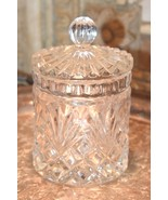 VINTAGE  CLEAR GLASS Crystal Diamond Point Canister Candy Jar APOTHECARY... - $37.99