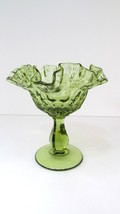 Fenton Colonial Green Thumbprint Compote Double Crimp Candy/Nut Dish - $14.85