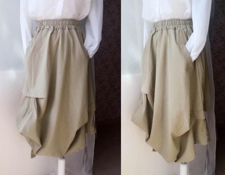 Khaki Linen Ankle Length Skirt Loose Elastic Waist Boho LINEN COTTON SKIRTS NWT