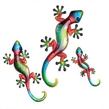 Set of 3 Colorful Metal Gecko Wall Plaques - 3 Sizes - Yellow, Green, Blue, Red
