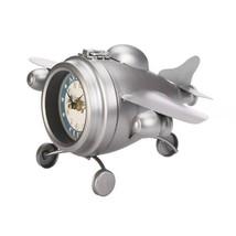 Aviation Club Desk Clock Vintage Design Jet Airplane Shaped Silver Finish - $40.95