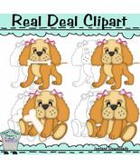 Lil Puppy Girl Clip Art BONUS Line Art - $1.25