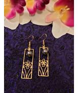 Rectangle Plumeria Pearl earrings - $20.00