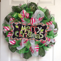 Merry Christmas Lights Handmade Deco Mesh Wreath - $89.99
