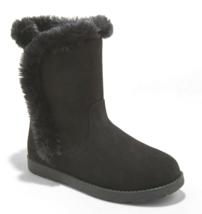 Cat & Jack Big Girls' Black Microsuede Hadlee Faux Shearling Fur Winter Boots