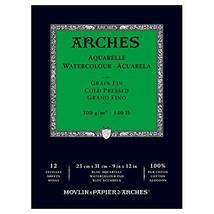 """Arches Watercolor Paper Pad, 140 pound, Cold Press, 9""""x12"""" - $22.42"""