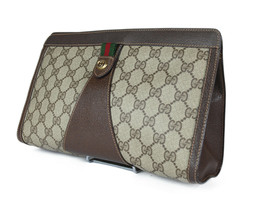 GUCCI GG Pattern PVC Canvas Leather Browns Clutch Bag GP2204 - $229.00