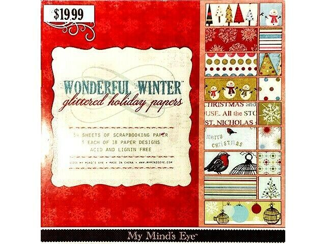My Mind's Eye Wonderful Winter Glittered Holiday Cardstock Paper Pad #WWGS01