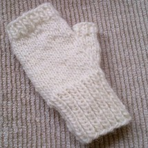 Alafoss Lopi wool white sweater fingerless Mittens hand knitted by uniqu... - $427,10 MXN