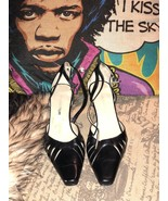 ENZO ANGIOLINI Sharp Midnight Black  Leather Strappy Kitten Pumps Size 6... - $14.85