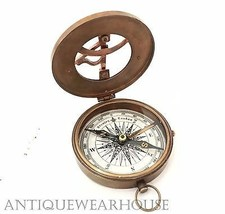 An item in the Antiques category: solid brass working pocket compass with leather case vintage navigation compass