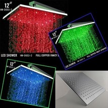 "12"" Square Temperature Sensor Changing Color LED Showerhead, Polished Chrome - $173.35"