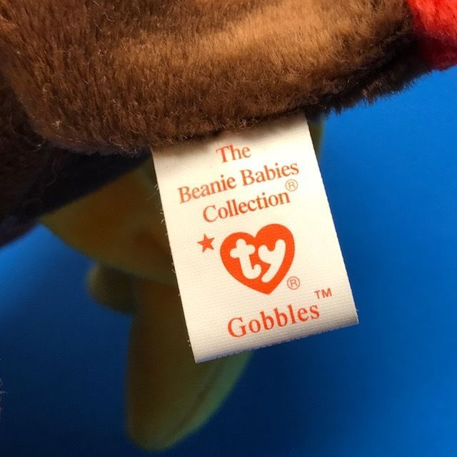 1997 BEANIE BABIES VINTAGE PLUSH STUFFED ANIMAL RETIRED TY TAG GOBBLES TURKEY