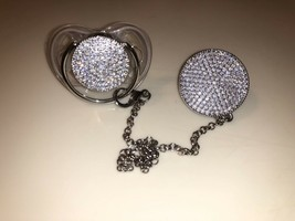 Silver swarovski pacifier and clip - $60.00