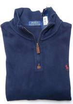 Polo Ralph Lauren Men's 1/2 Zip French-Rib Navy Cotton Sweater Sweat New XL - $55.23
