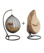 Single Patio Outdoor Handmade Rattan Hanging Wicker Swing Chair w/Cover&... - $598.98