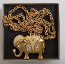 Kenneth Jay Lane KJL Royal Elephant Pendant Necklace Brooch Combo Avon 1... - $44.88