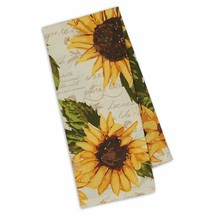 "Rustic Sunflowers Printed Dish Towel New Kitchen Flowers 100% Cotton 18""... - $12.86"