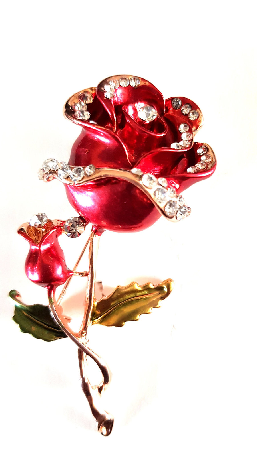 gold and crystal red rose Brooch with brooch safety crossbar connection on rear
