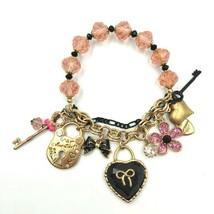 BETSEY JOHNSON Multi Charm Bracelet Beaded Chain Half Stretch Dangle Val... - $32.47