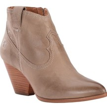 Frye Women's Reina ASH Grey Leather Western Ankle Bootie 3479258-ASH NIB
