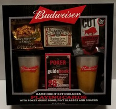 Budweiser Game Night Set with 2 Pint Glasses Playing Cards and Poker Nig... - $29.99