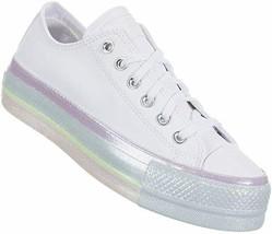Converse Women's CTAS Lift OX sneaker Size 5M (566156C) White/Pink/Purple - $80.11