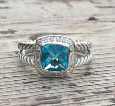 David Yurman Petite Albion Ring With Blue Topaz And Diamonds Size 7 - $325.71