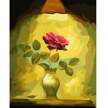 Paint By Number Kit Vintage Illuminated Single Rose DIY Picture 40x50cm ... - $15.51