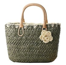 Fashion Vacation Item/Sweet Crochet Flower Straw Hand Bag/ Beach Bag/Green