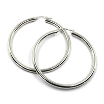 18K WHITE GOLD ROUND CIRCLE EARRINGS DIAMETER 40 MM, WIDTH 3 MM, MADE IN ITALY image 1