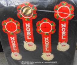 Bucilla Noel Santa Christmas Jeweled Door Knob Ornament Embroidery Kit 3... - $16.00