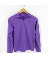 Patagonia Capilene Baselayer Top Girls Size 14 Purple Striped Quarter Zi... - $14.85