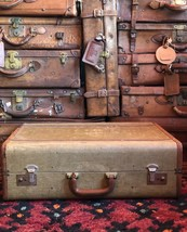 Vintage Unbranded Large Tweed Brown Leather Trims Suitcase Retro Luggage... - $534.00