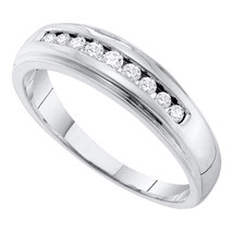10k White Gold Mens Round Channel-set Diamond 5mm Wedding Band Ring 1/4 Cttw - £341.73 GBP