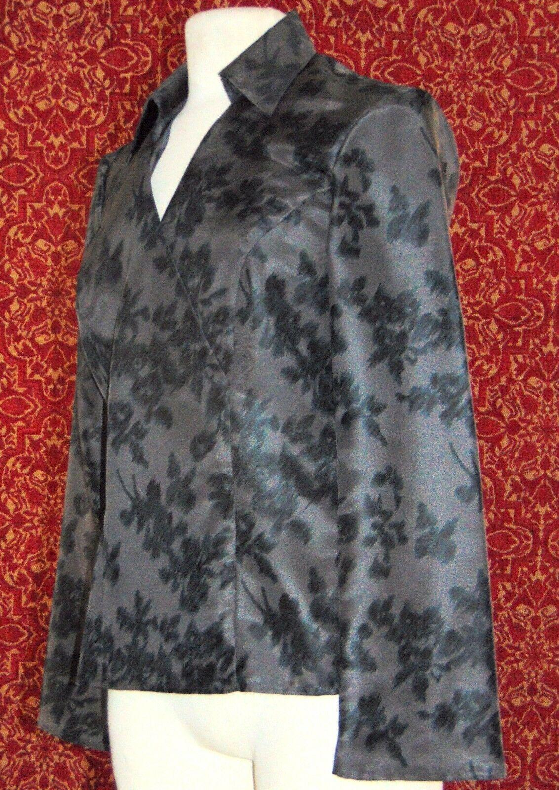 NINE & COMPANY gray polyester long sleeve faux wrap blouse 6 (T07-01I8G) image 3