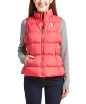 New Us Polo Assn Women's Premium Athletic Plush Puffer Zip Up Vest Azalea size L