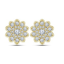 Flower Shape Stud Earrings 14k Yellow Gold Plated 925 Silver Round Cut White CZ - $58.20