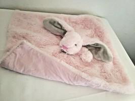 Okie Dokie Pink Bunny Rabbit Baby Security Blanket Lovey Plush Grey Ears... - $14.62