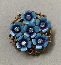 Vintage Avon Blue Enamel Rhinestone Flower Cluster Brooch Pin Pendant Go... - $14.22